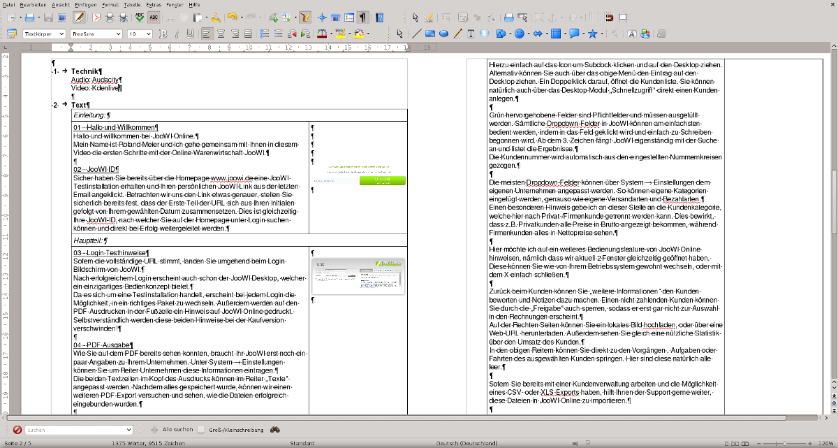 Libreoffice JooWI Video Planung